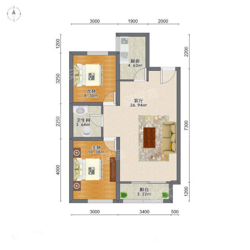96㎡2室2厅1卫