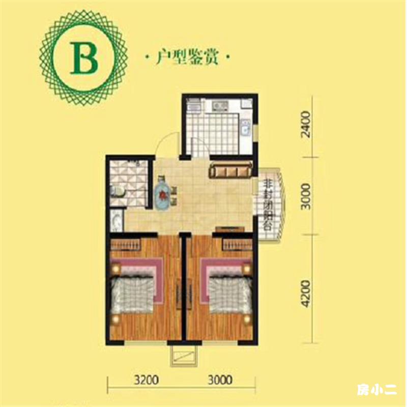 70㎡2室2厅1卫