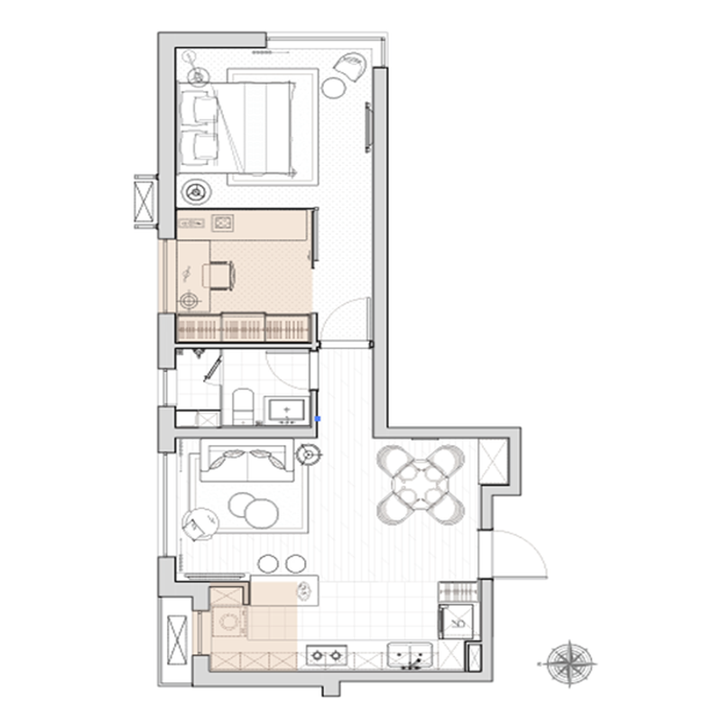 61㎡2室2厅1卫