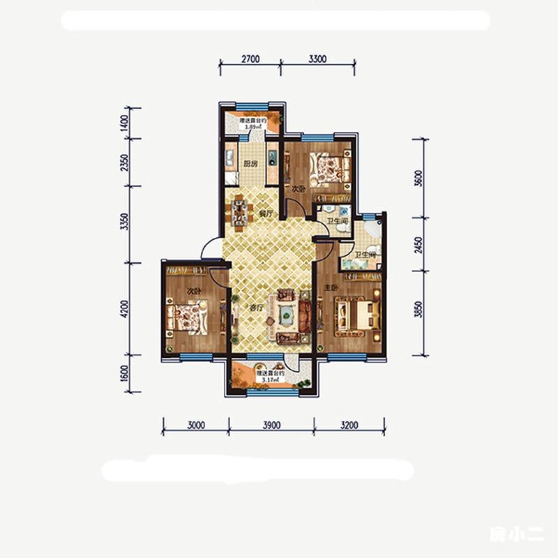全明生活空间,南北通风,舒适大三房。 双卫设计,三代同堂,生活不慌不忙。
