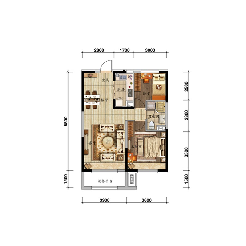 85㎡2室2厅1卫