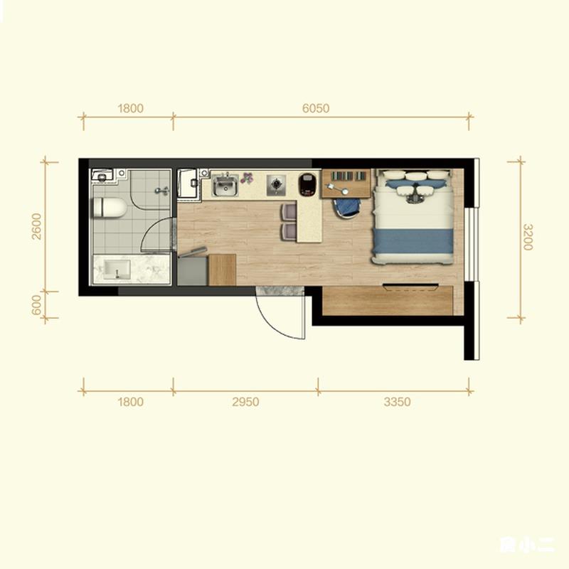 32㎡1室1厅1卫