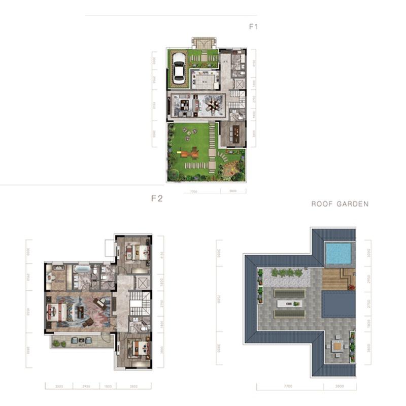 首创·禧瑞长河4室2厅5卫建筑面积约为184㎡