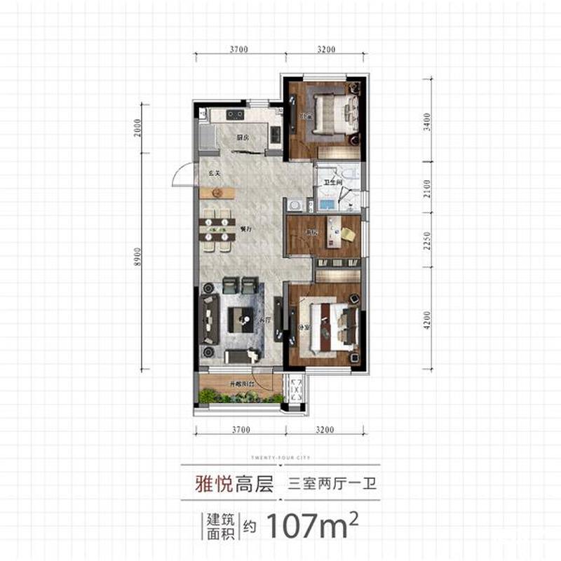 107平3室2厅1卫户型