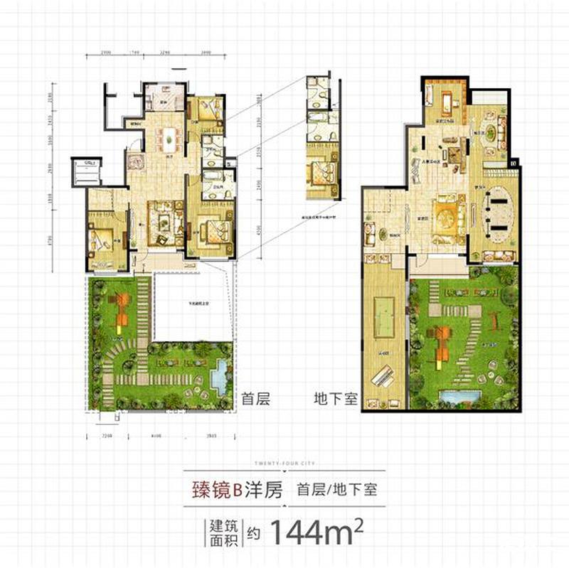 144平4室2厅2卫一层户型