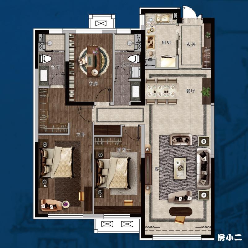 135㎡3室2厅2卫