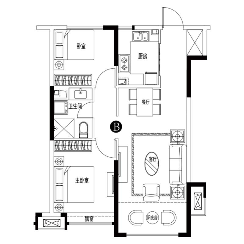 93㎡2室2厅1卫