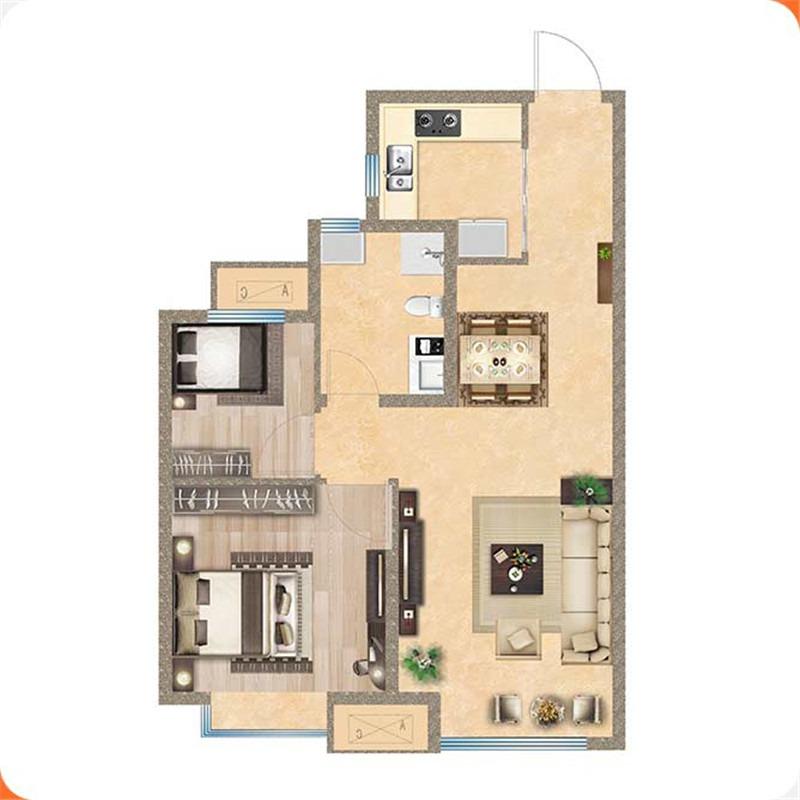 83㎡2室2厅1卫