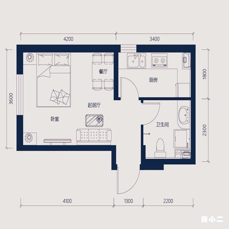 41㎡1室2厅1卫