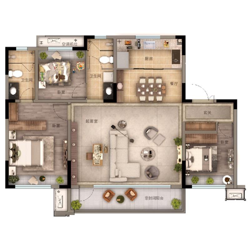 137㎡3室2厅2卫