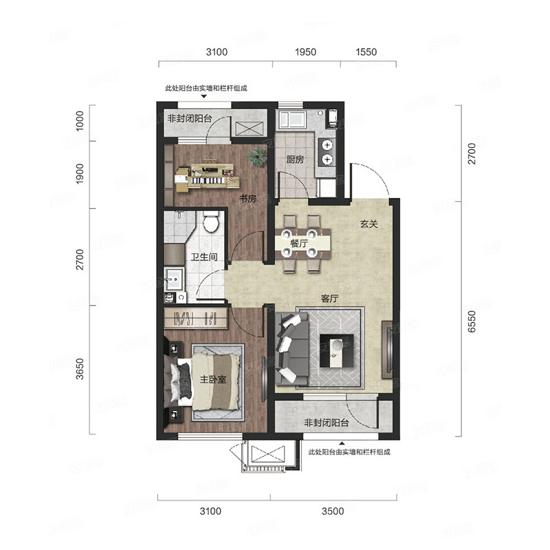 75㎡2室2厅1卫