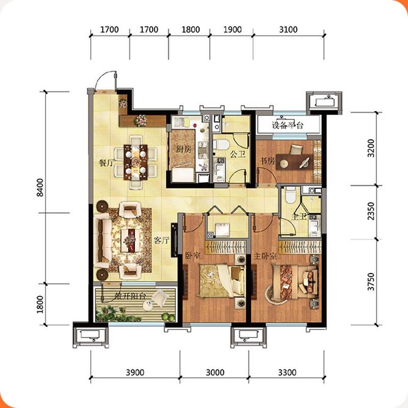 高层115平3室2厅2卫户型