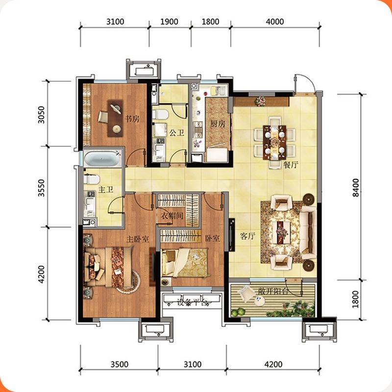 高层134平3室2厅2卫户型