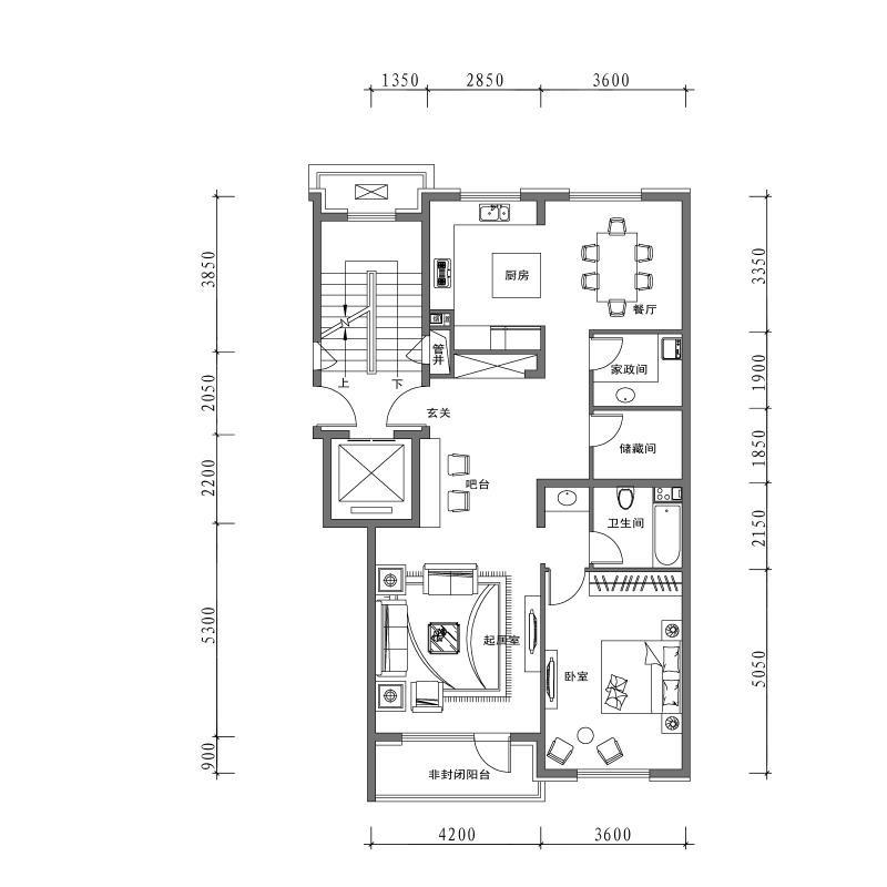 万科翡翠别墅·有山3室2厅3卫建筑面积约为115㎡