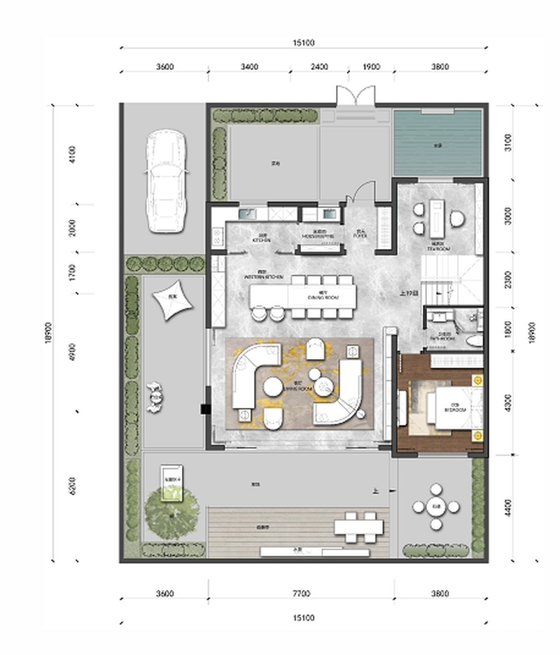 越秀·岄湖郡一人一墅3室3厅3卫建筑面积约为163㎡