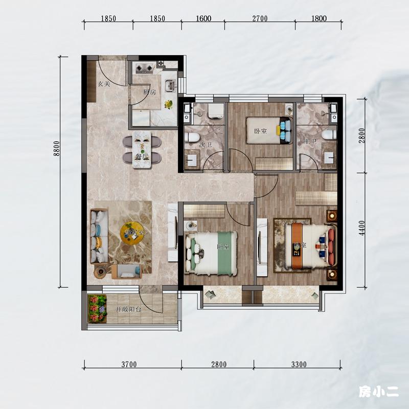 103㎡3室2厅2卫