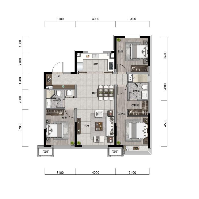 119㎡3室2厅2卫