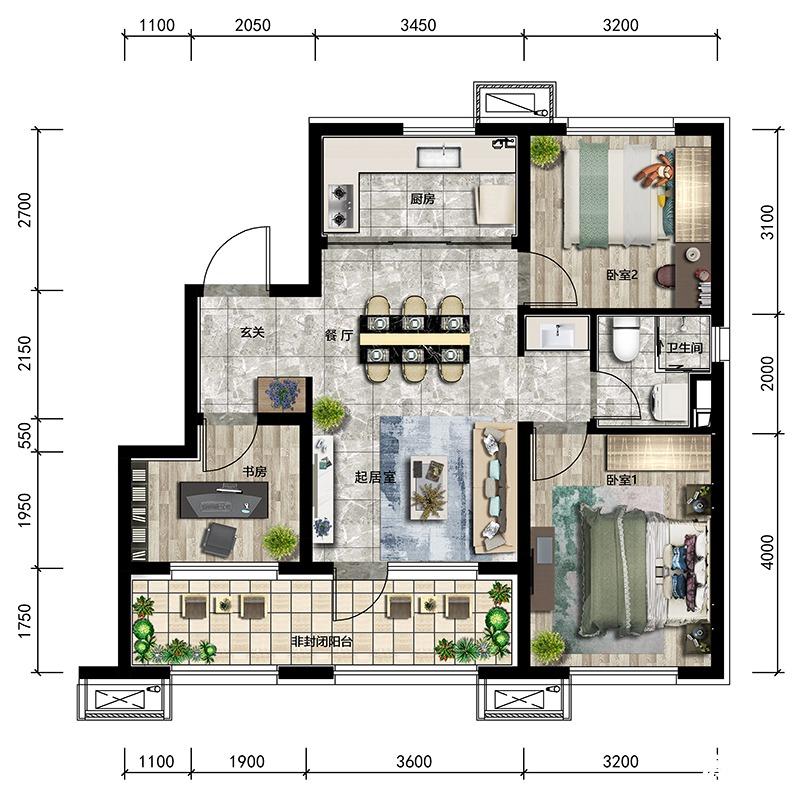 96㎡3室2厅1卫