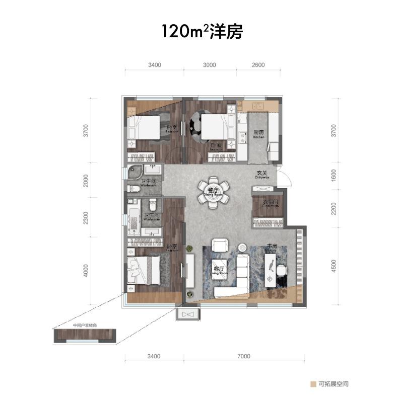 120㎡4室2厅2卫