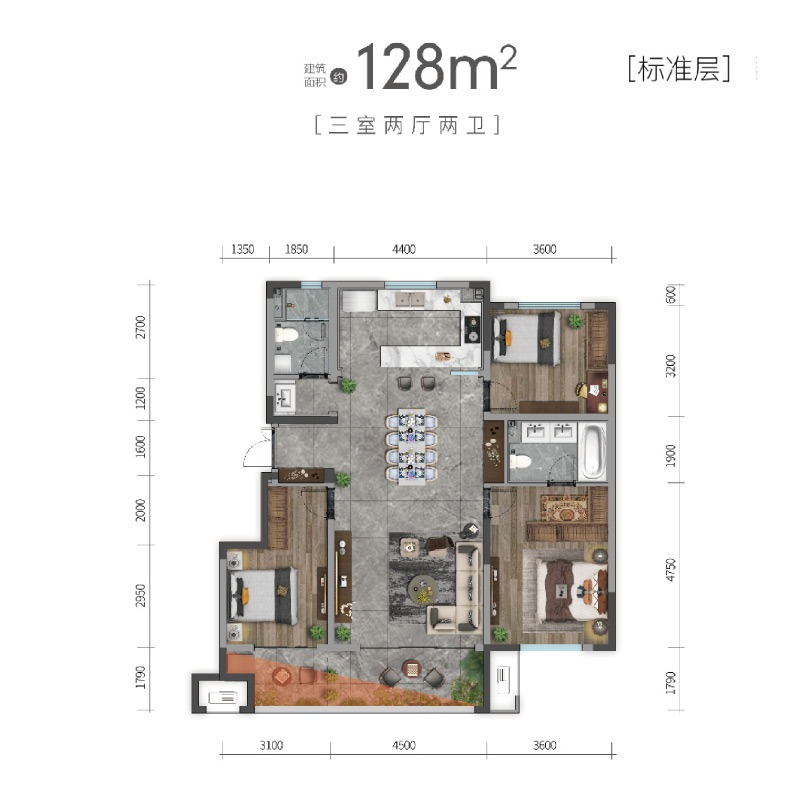 洋房128平标准层户型