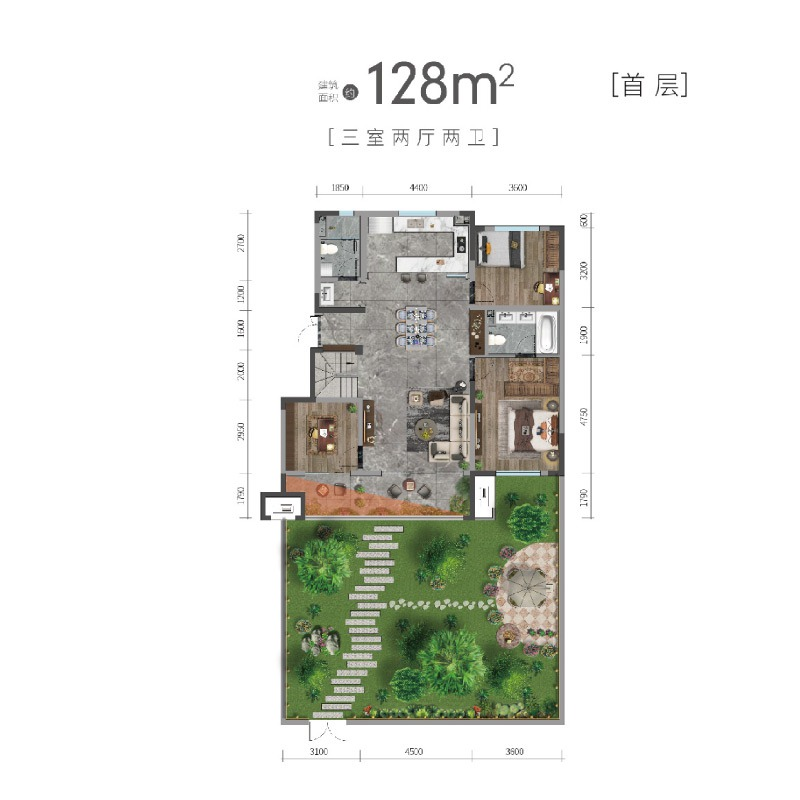 洋房128平首层户型