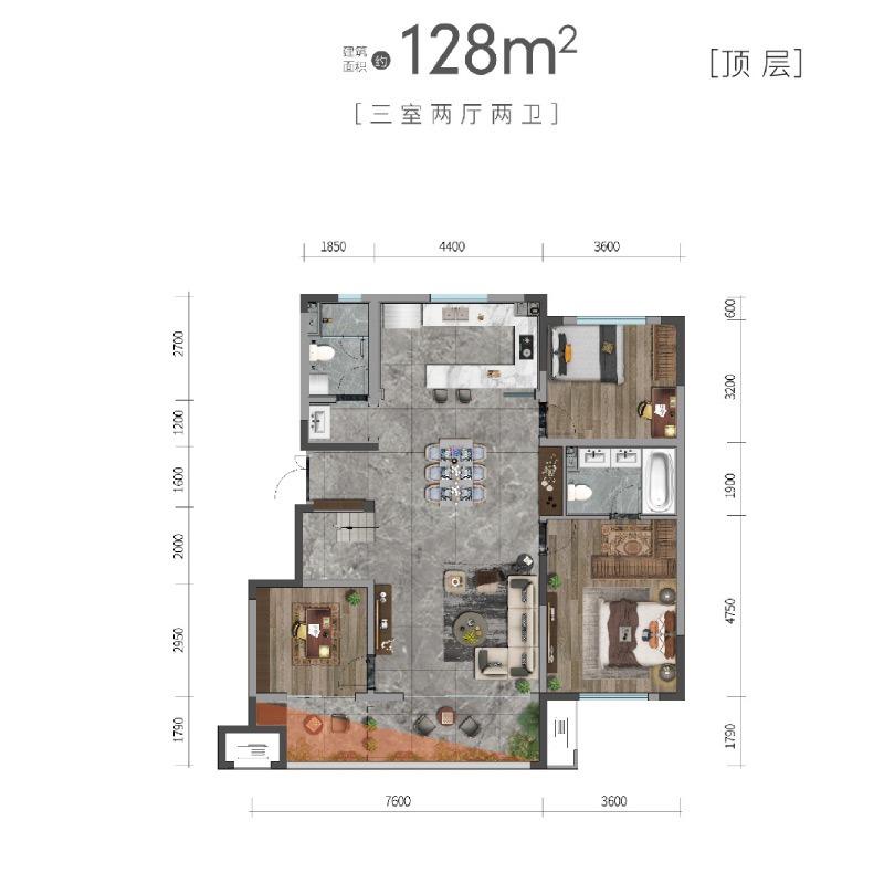 洋房128平顶层户型
