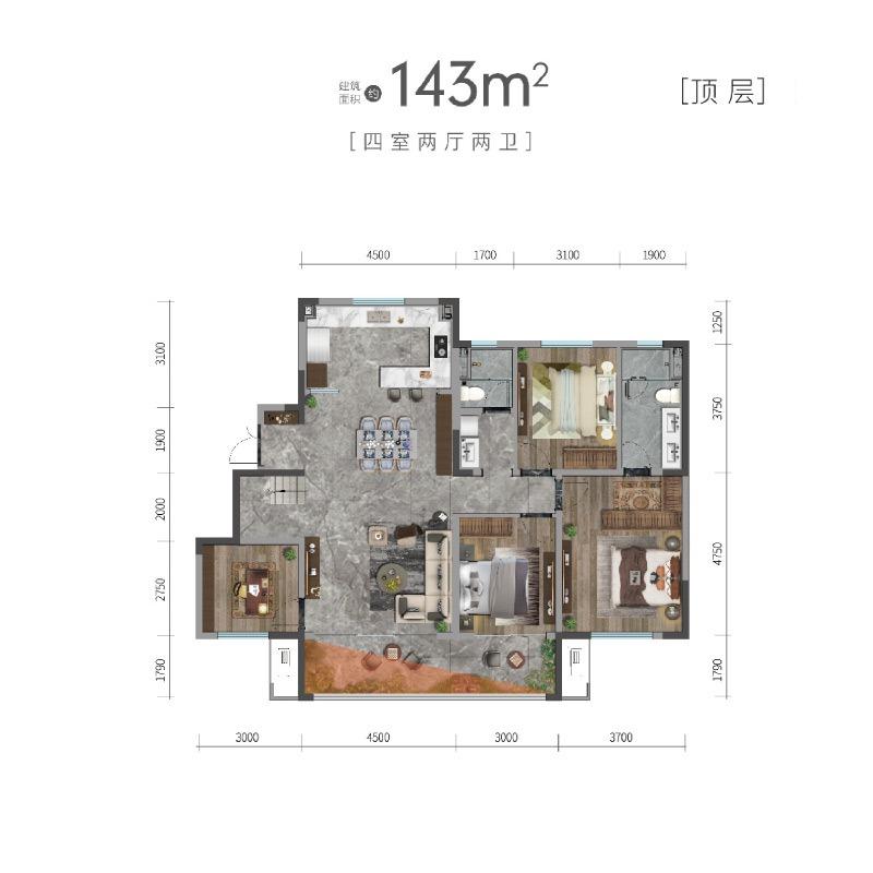 洋房143平顶层户型