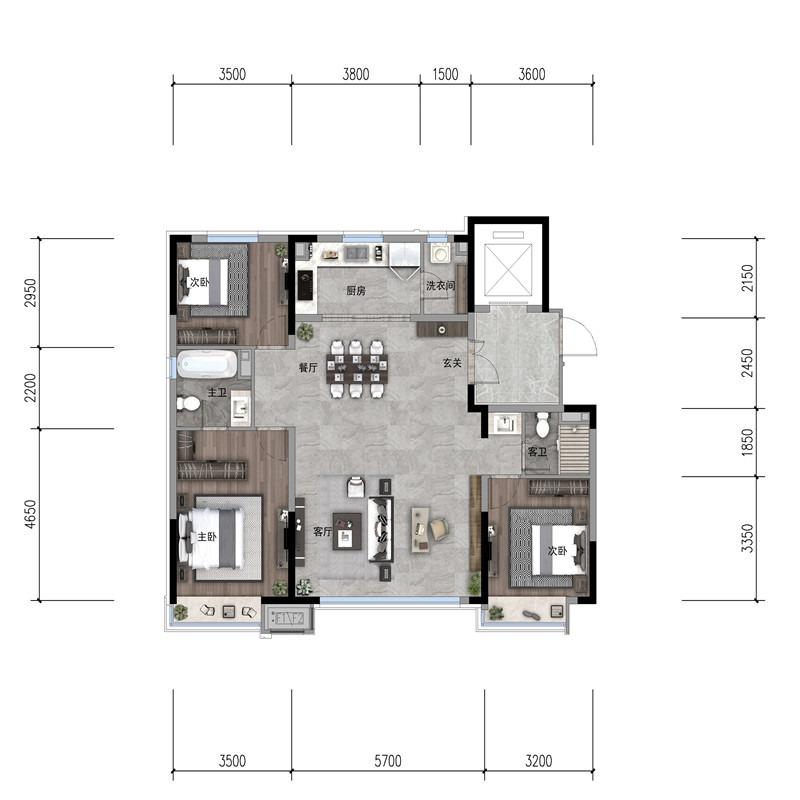 132㎡3室2厅2卫