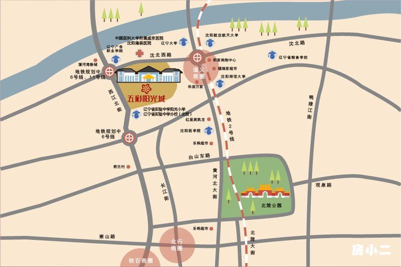五彩阳光城区位图