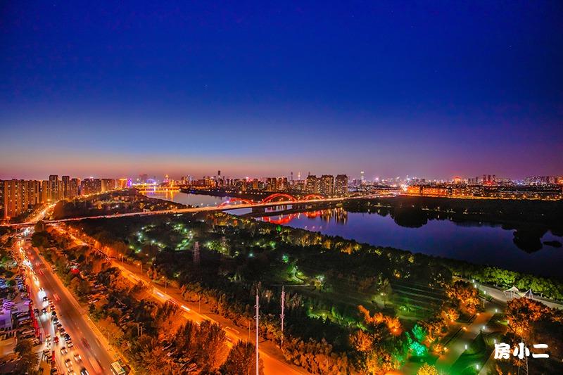 盛京雅府夜色河景图