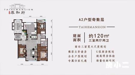 美地·泰和府120平三室两厅两卫户型解析
